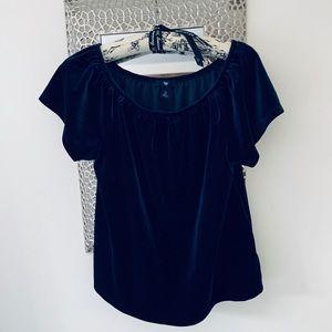 GAP Blue Off Shoulder Velour Short Sleeve Top
